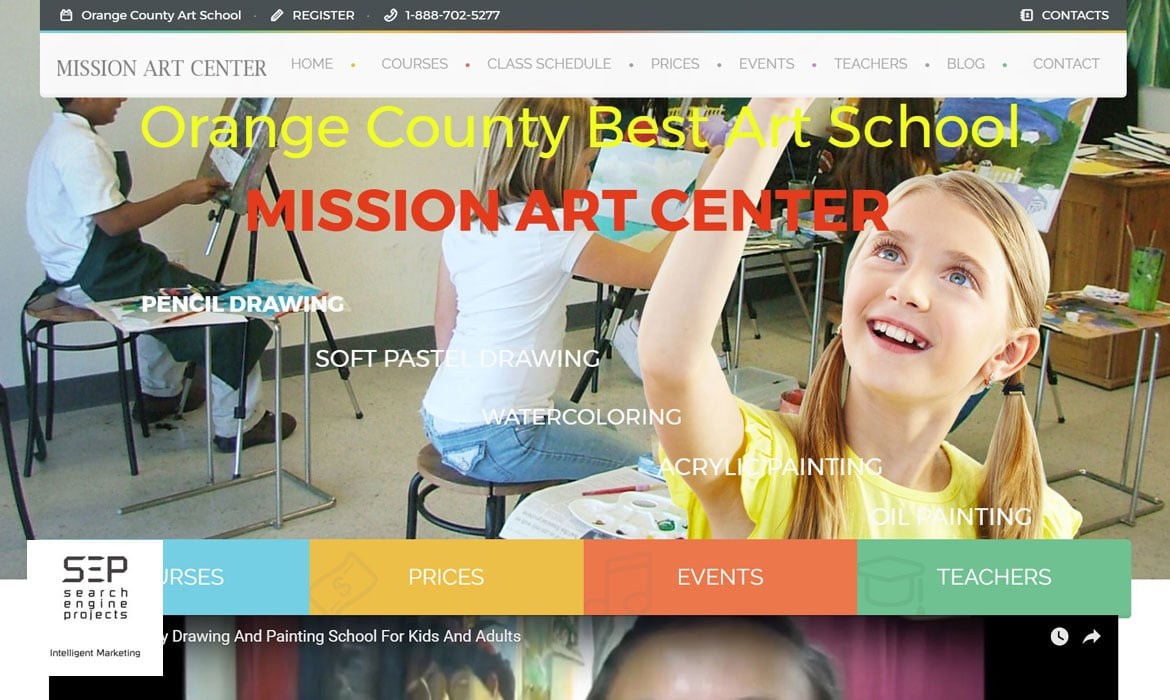 art school website after