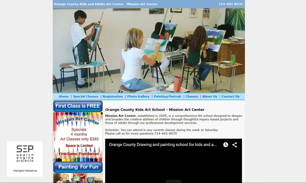 art school website before