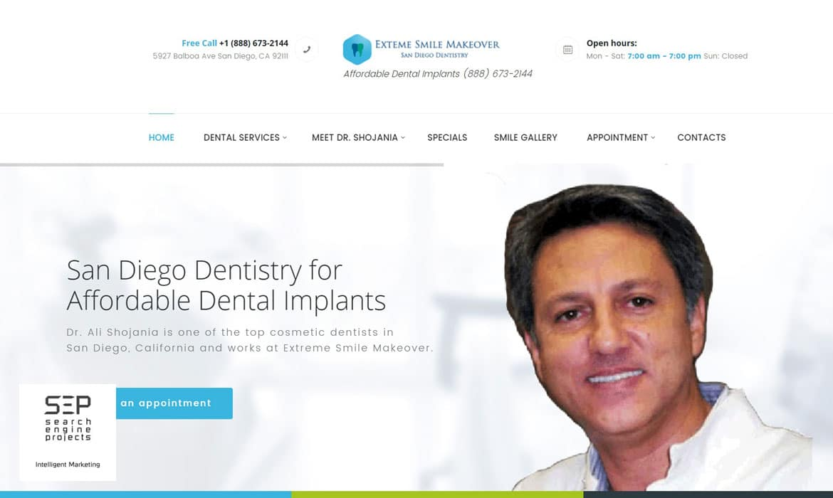 dentist website design after