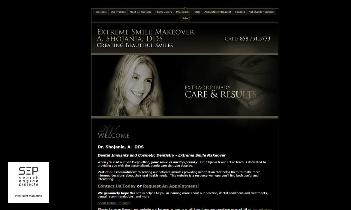 dentist website design before