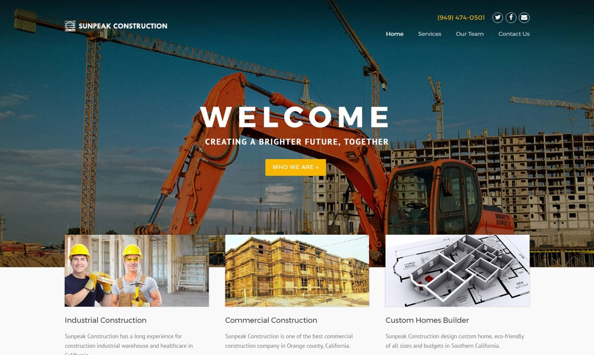 contractor marketing construction website
